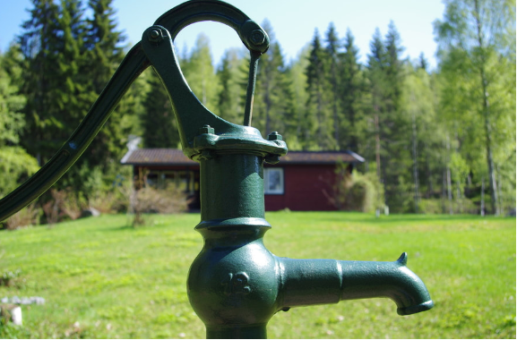 a green water pump